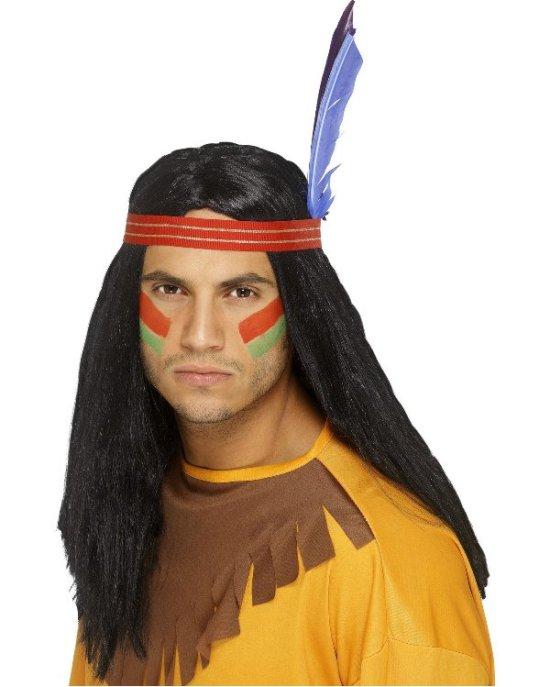 Indianerparykk med fjaer Tilbeh?r