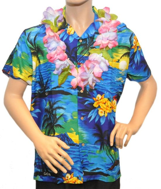 Hawaiiskjorte, Marineblaa Kostymer
