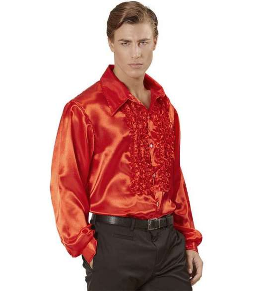 Rød Sateng Skjorte